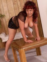 Sweet chubby mature Kaleila teasing and spreading her big fat legs