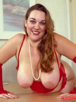 Yummy bbw blonde slut in sexy red lingerie