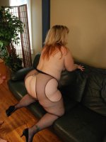 Sexy blonde BBW Bree jams a stiff cock between her titties before she takes it in her gash