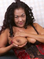 Hot asian chubby in sexy lingerie spreading that shaved hole
