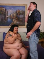BBW Ursula hooks up with an older guy and gives off an awesome blowjob before she gets nailed