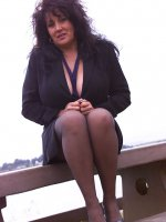 BBW hottie Ashley looking amazing in a pair of pantyhose outdoors