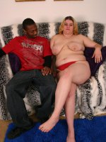 Big babe Drew shows off her beautiful set of knockers to seduce a chubby chasing black guy
