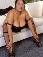 Black stocking bbw mature Chula with perky huge nipples and heels