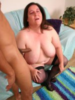 Sexy BBW Jenna showing off her huge knockers to lure a black guy into pounding her pussy live