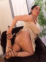 Smoking hot latin bbw goddess Ashley in pantyhose playing with her tits