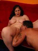 Pretty bbw Teedra filling her fat pussy with a thick cock by humping on top of her partner
