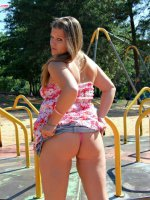 Adventurous young fat girl gets stripped in public
