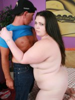 Horny BBW model Angie Luv wastes no time in sucking off and fucking a big meaty cock