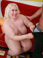 Large blonde chick Tina Rose fills her sex holes with meat stick and gets her huge melons jizzed