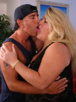 Live sex with mature BBW pornstar Jenna seducing a younger guy by showing off her huge tits live