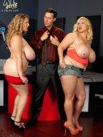 The Battle of the K-JUGS Juggies - Samantha,  Renee Ross - BBW,  Blowjob,  Cumshot,  Group Sex