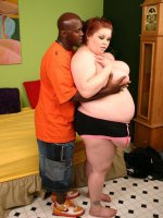 Big BBW Candice Cane sucking off a cock and takes pussy humping from a horny guy