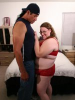 Nerdy BBW Lorelei showing off her awesome blowjob and humping on top of a big cock