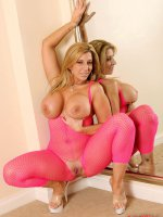 Sara Jay the lovely blonde bbw goddess in a sexy pink outfit