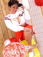 Chubby woman cheerleader Ashley spreading her fat wet pussy and boobs