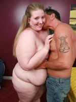 Blonde BBW Jessie gets her flabby body naked and lets a stud cram her face hole with meat stick