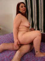 Sexy bbw Nina showing off her plump ass and enjoys cock plugging in her fat pussy