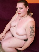Thick BBW Menoly on her knees while a guy examines her fat covered muff with his thick rod live