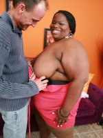 Massive ebony bbw Chocolat Hottie showing off her fat tits and taking hard cock pounding in her cooze