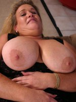 Horny bbw Jenna playing with her massive knockers before taking a stiff man pole up her fat pussy