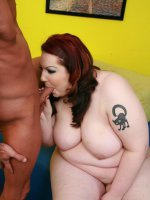 Redhead BBW Harmony warms up with an excellent oral before she gets plowed and sprayed with spunk