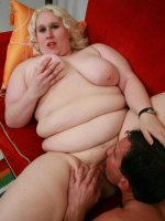 Blonde BBW Tina Rose naked and bouncing her huge ass on top to take deep cock drilling