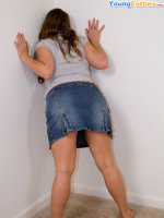 Overweight girlie shows that she?s going commando