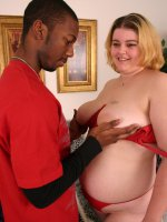 Pretty blonde fatty Drew shows a black hunk her curvy body and receives a deep muff fucking