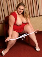 Bbw big titty mature Christina stripping showing her shaved pussy