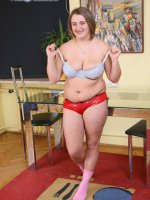 Young two-hundred-pound girl takes red panties off