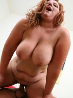 Chubby mature bitch having her plump belly splooge splattered