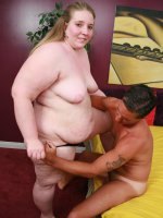 Cute BBW Jessie is a little shy at first but soon loosens up by wrapping her mouth around a wang