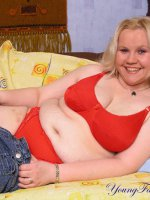 Blonde teen plumper shows everything